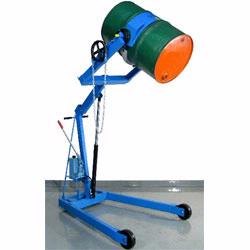 Use a crane or hoist to lift heavy drums. Manufacturers to choose from include Vestil and Morse.