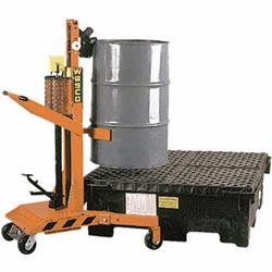 Morse drum palletizers allow a single person to hook onto a heavy drum, then lift it off the floor. Once lifted, the drum can easily be transferred onto a pallet.