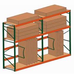 Stromberg lumber racks provide storage for plywood, sheet rock, paneling and any other types of lumber products.