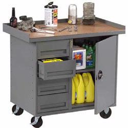 These Tennsco Mobile Workbenches are available now through Material Flow!