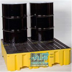 Keep work areas dry and safe from unnecessary spills with a spill platform manufactured by Vestil or Eagle.