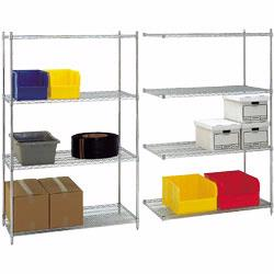 Wire shelving offers excellent storage in a lightweight, clean looking design. Ideal storage solution for industrial and commercial use. Snap-together design assembles in minutes.